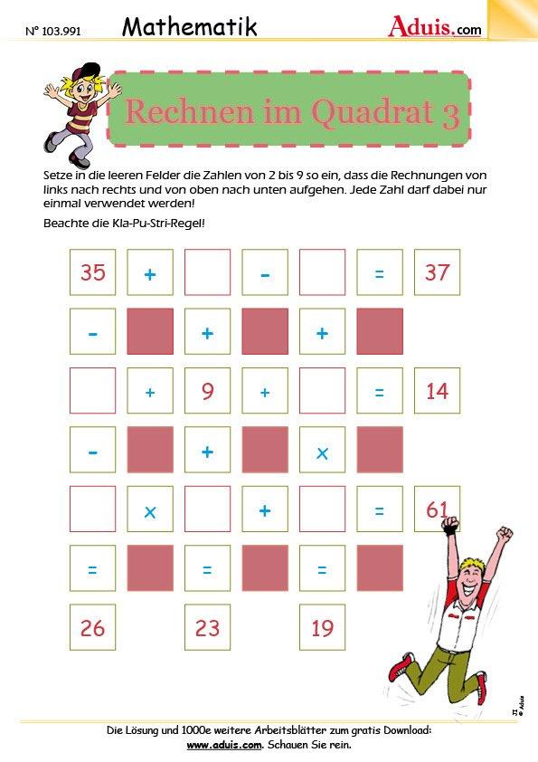 die Herausforderungen - Arbeitsblätter | Mathematik | Denksport