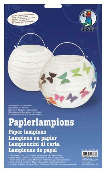 Papierlampion Set - 4 Stk., weiß