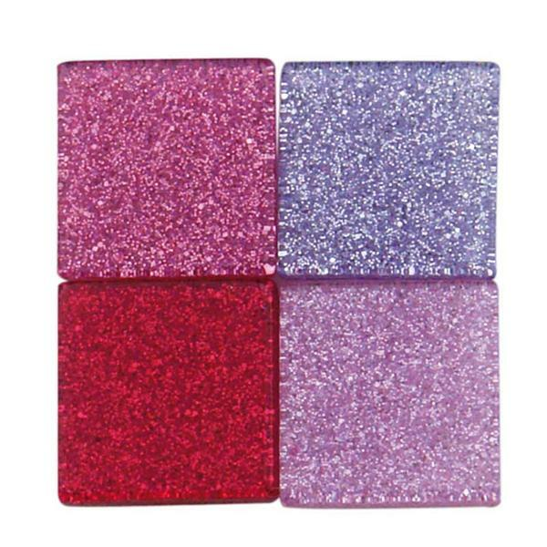 Mosaik Glitter Mix - 10 x 10 mm, pink
