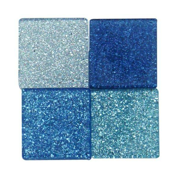 Mosaik Glitter Mix - 10 x 10 mm, blau