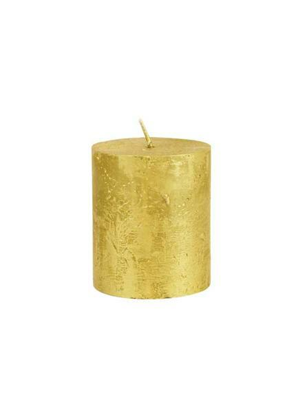 Stumpenkerze Metallic - 80 x 68 mm, gold