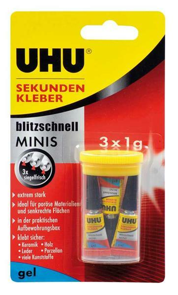 uhu sekundenkleber minis gel 3 x 1 g klebstoffe leime spezialkleber. Black Bedroom Furniture Sets. Home Design Ideas