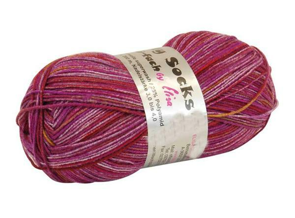 Sockenwolle - 150 g, brombeer-color